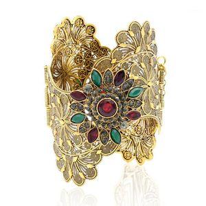 Vintage India Donne Braccialetto Braccialetto Braccialetto ondulato Bordo Plus Size Bangle Open Type Roma Flower Gold Color Bangles Bangles Arab Dance Jewelry1