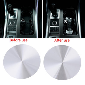 Metal Car Cup Holder Cover Mats Trim For Range Rover Sport Vogue Discovery Universal Auto Central Console Bottle Holder Pads Mat