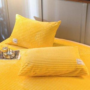LREA 1PC Thinken Flanel Fleece Coral Taie d'oreiller Couverture sur la literie Chauffante et confortable Accueil Taie d'oreiller Housses1