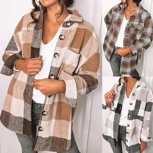 Fashion Plaid Top Women Overshirt Turn-down Collar Overshirt With Long Sleeves Fastening With Plastic Buttons