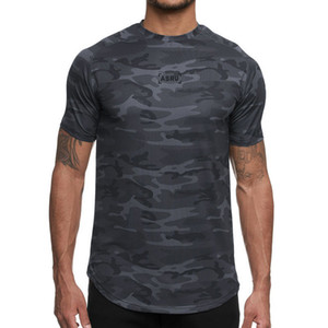 Asrv moda camuflaje de hombre secado rápido camisetas verano nuevo impreso manga corta camiseta hombre deporte fitness o-cuello tee koszulka
