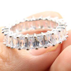 Vintage Fashion Jewelry Real 925 Sterling Silver Princess White Topaz CZ Diamond Eternity Women Wedding Engagement Band Ring Gift