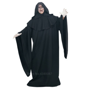 Women Men Unisex Cosplay Costume Carnival Party Religious Evil Black Hooded Robe With Red Horror Scary Goat Rubber Mask Set T200703