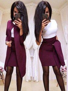 Elegant Women Set for Office Lady Pure Color Patchwork Design Casual O Collar Slim Autumn Winter Women Dress 2 Piece Set