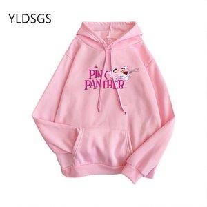 Cartoon Printed Sweatershirts Women Jumpers Shirts Warm Pullover Hooded Pink Cute Sudaderas Autumn winter Fall Tops Fashion 201014
