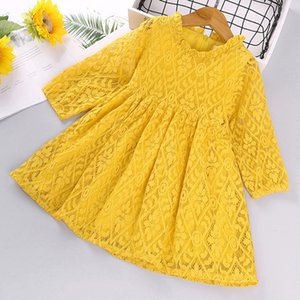 Princess Dress 2020 Autumn New Korean Style Lace Collar Long-Sleeved Hollow Flower Girl Sweet Simple Dress Baby Kids Clothing