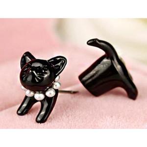 3d Cute Black Cat Piercing Stud Earrings For Women Girls And Men Pearl Channel Earring Fashion Jewelry Whole sqcgqw beauty888