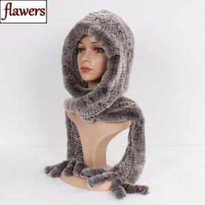 Femmes chaudes 100% authentique rex chapeau de fourrure foulard dame tricotée naturelle véritable rix fourrure fourrure fourrure capuchon hiver véritable écharpe chapeaux