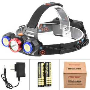 1 T6 + 2 COB Waterproof LED Rechargeable Headlights 5 Modes 90° Rotation 18650 for running hiking hunting fishing #3B22