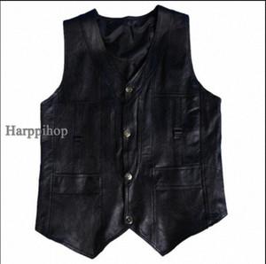 Harppihop genuino de los hombres de cuero de piel de oveja chaleco de primavera y verano chaleco de piel de cuero genuina masculina más el tamaño 5XL 6XL envío libre RMFM #