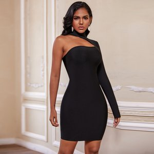 Ocstrade Summer Cut Out Bandage Dresses New Arrival Women Sexy Black Bandage Dress Long Seeve Bodycon Club Party Dress 201022