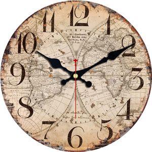 Antike Uhren Silent World Map Sailboat Design Uhr Hauptdekor für Büro-Studien-Küche Große Kunst Wanduhren Kein Ticken