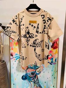 2021 Summer New Mens Designer de luxe beige t-shirts ~ T-shirts T-shirts de la taille des États-Unis ~ Mens Haute Qualité Designer Sleeve T-shirts