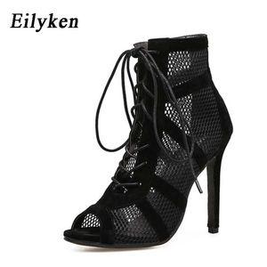 Eilyken 2021 Fashion Black Summer Sandals Lace Up Croce Tied Peep Toe Tacco alto Strap della caviglia Net Superficie Scava Sandali C0202