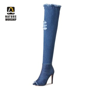 Spring Autumn Women Short Ankle Boots Long Over-the-Knee Boots Plus Size Shoes Denim Peep Toe Zip Zipper Solid High Heel Fashion