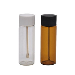 Clear Brown Glass Snuff metal Vial Spoon Spice Bullet Snorter Pill box storage bottle Case Container Stash mixed color Gift DHD2777