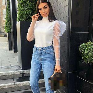 Women Girls Mesh Sheer Top Long Sleeve Transparent Tee Shirt Vintage Puff Sleeve Elegant Blouse Tops Fashion Autumn Clothes