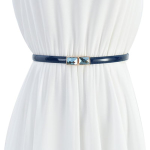 Fashion 1.5cm blue yellow pink Womens   Ladies Slim Leather Belt Korean style with Rhinestone pin buckle for dress jeans