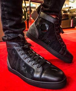 [Scatola originale] del progettista famoso Orlato High-top fondo cuoio Sneaker Nero Camouflage Red Uomo Casual Flats Spumanti formatori Mesh 1.1 Box