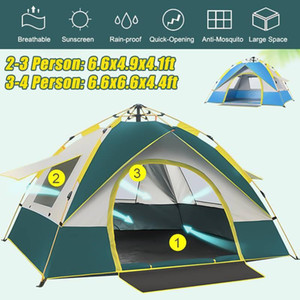 2-4 Person Fully Automatic Tent Camping Travel Family Tent Rainproof Windproof Sunshade Awning Beach Camping Hiking