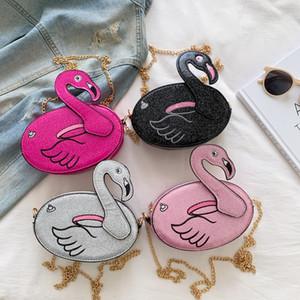 Çocuklar Çanta Flamingo Omuz Çantaları Karikatür Moda Kızlar Crossbody Messager Çantası Sequins Zincir Seyahat Cüzdan Z2122