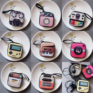 New creative tinplate coin purse mini key case retro record tape luggage pattern earphone coin storage bag OWF2405