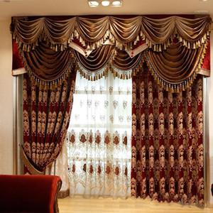 Royal Aristocratic الأوروبية التطريز الستائر الظل الكامل لغرفة المعيشة الراقية الفيلات زينت فاخرة ديكور 1