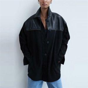 Za Women's Corduroy Jacket Patchwork Long Sleeve Overshirt Woman Autumn Winter Plus Size Black Jackets Coat Long Top 201210