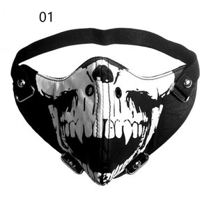 Personality Trendy Leather COS Half Face Mask Motorcycle Riding Mask Paintball Mask Party Performance Props K490G