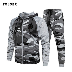 Men Camo Tracksuit Hooded Two Pieces Set Men Autumn Outerwear Sweatshirts Male Jacket+Pants Set Sporting Clothing 2020 New 1004