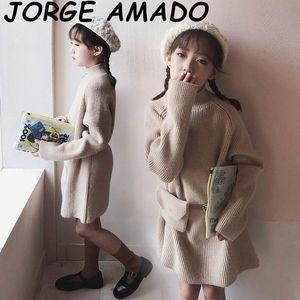2020 Les filles d'automne et d'hiver Robe pull col haut laine chaud robe à manches longues avec sac de taille Les vêtements d'automne 2020 fille E20106
