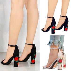 STAN SHARK New Ankle Strap Women shoes Sandals Embroider High Heels Open Toe Sandals Woman Elegant Floral Summer Fashion sandals 0928