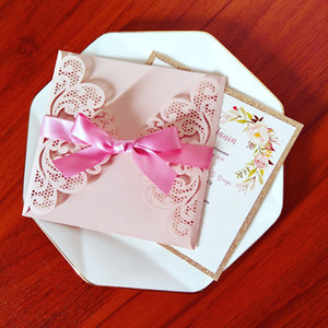 Light Pink Shiny Personalized Print Laser Cut Wedding Cards with Rose Gold Glitter Ribbon Envelope DIY Invitations for Marriage 15 Anos