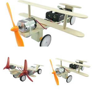 DIY Electric Power Airplane Wooden Model Kit Bricks Set Technology Physical Science Experiments Educational Toys For Children