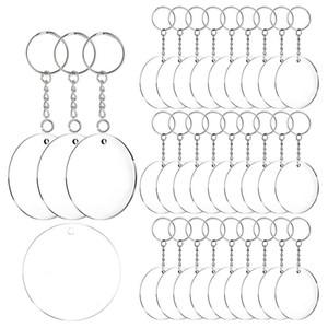 Acrylique Keychain Blanks, 60 Pcs 2 pouces de diamètre ronde acrylique cercles clair disques avec anneaux Porte-clés en Métal
