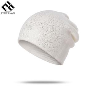 Evrfelan высокого качества Дешевые Skullies Шапочки для женщин Вязаные зимние Hat Shinning Шапочки Девушки Skullies Solid Color Шляпы