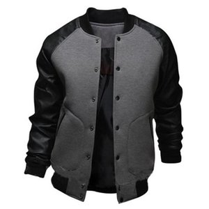 Men's Bomber Jackets With PU Leather Long Sleeve Casual Male Outwear Fashion Mens Jacket Coat Fashion Baseball Base Coats 2020