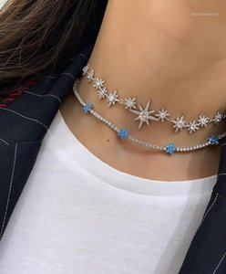 Мода The Heavy Star Choker Ожерелье с CZ Pave North Star Charm Ожерелье с розовым золотом Color Shoot Cound Wedding1