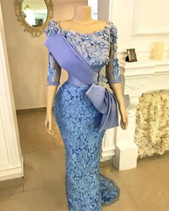 Vintage Lace Prom Dresses With Appliques Half Sleeve African Mermaid Evening Gowns Arabic Formal Women Party Dress Dubai Vestidos