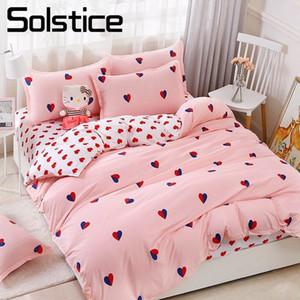 Solstice Home Textile Twin Queen King Bedding Set Pink Heart Love Girl Teen Взрослый Женщина Кровать постельного белья Пододеяльник Крышка Подушка