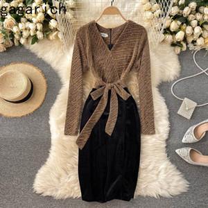 Gagarich Damen Kleid 2020 Winter Herbst Korean Temperament Helle Seidennähte Gegensätzlich entworfene V-Neck Damen Vestidos