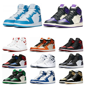 New 1s Mens basketball shoes top Pine Green Court Purple Chicago OG 1 Game Royal Blue Backboard sports sneaker trainers size 7-1