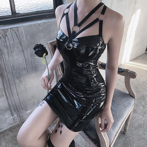 JIEZUOFANG 2020 SEXY Backless Club Party Court Robe Courte Solid Noir Look Latex Faux Cuir Push Up Bra Micro Robe Femmes