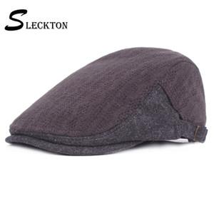 Gorra Plana SLECKTON sólido de la manera Sombreros Boinas informal sombreros de ala retro Visera del vendedor de periódicos del sombrero francés de invierno para los hombres