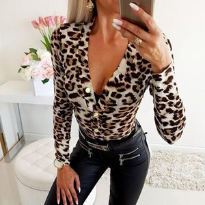 Leopard Imprimir Manga Longa Feminina Bodysuits Profundo V-Neck Casual Sexy Skinny Bodice Macacão Roupas Femininas1