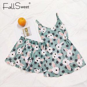 FallSweet Sexy Pyjamas Damen Zweiteiler Nachtwäsche Grils Pijamas ärmelNachtWäsche