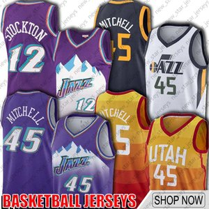 Donovan Mitchell 45 jerseys de UtahJazzJersey John Stockton 12 jerseys Karl Malone 32 Jersey de la vendimia