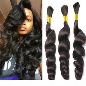loose wave bulk hair for braiding 8A no attachment loose wave brazilian human braiding hair bulk 1b# human hair