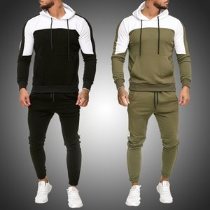 Mens Tracksuit Jogging Suit Side Stripe Hoodies Set Man Fleece Hoodies and pants Male Work Out Clothes Jogger Set Gym Clothing 1004