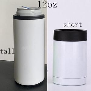 O refrigerador de sublimação térmica pode 12oz slim reto copo pode isolador de aço inoxidável de aço inoxidável Bebida de parede dupla pode